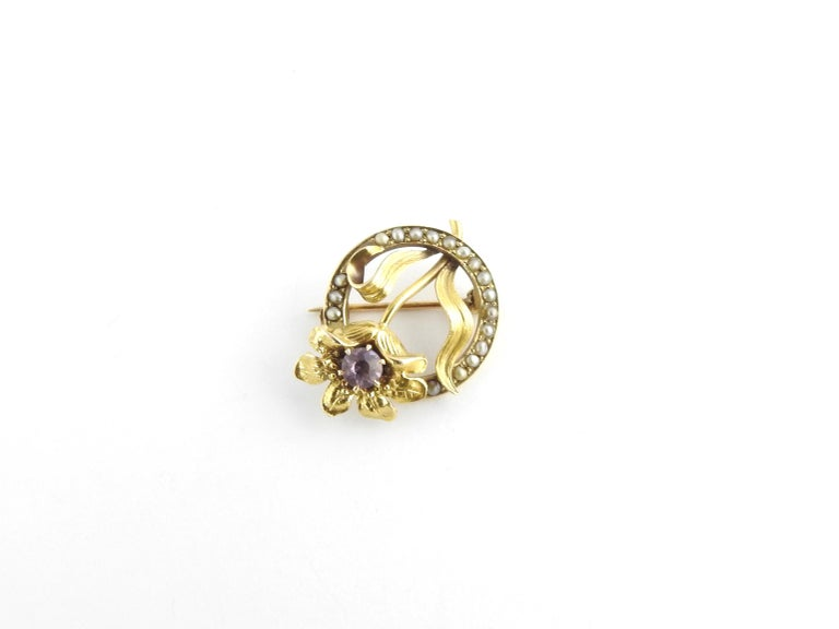 Women's 10 Karat Yellow Gold Amethyst and Seed Pearl Brooch / Pin For Sale
