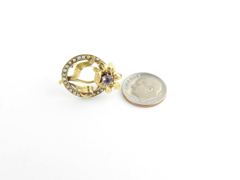 10 Karat Yellow Gold Amethyst and Seed Pearl Brooch / Pin For Sale 1