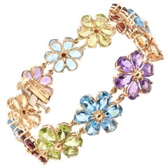 10 Karat Yellow Gold Amethyst, Blue Topaz, Peridot, Garnet, and Citrine Floral B