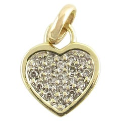 10 Karat Yellow Gold and Diamond Heart Pendant