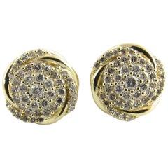 10 Karat Yellow Gold and Diamond Knot Earrings