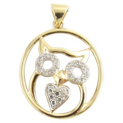 10 Karat Yellow Gold and Diamond Owl Pendant