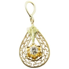 10 Karat Yellow Gold and Diamond Pendant