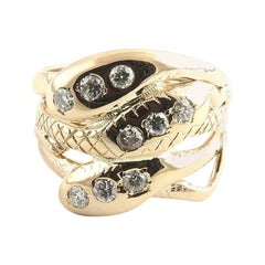 10 Karat Yellow Gold and Diamond Snake Ring