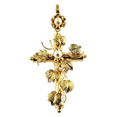 10 Karat Yellow Gold and Pearl Cross Pendant