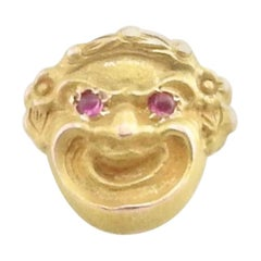 10 Karat Yellow Gold and Ruby Joker Pin / Brooch