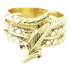 10 Karat Yellow Gold and Ruby Snake Ring