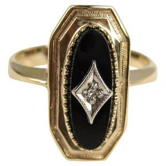 10 Karat Yellow Gold Black Onyx and Diamond Ring