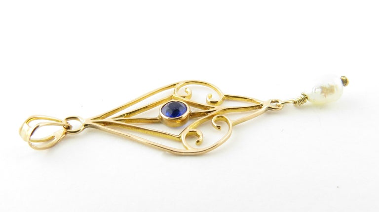 10 Karat Yellow Gold Blue Sapphire and Pearl Pendant In Good Condition For Sale In Greenwich, CT