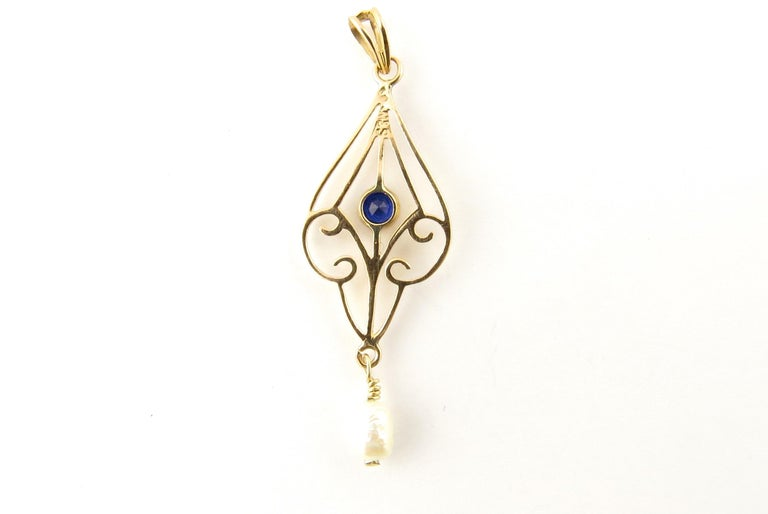 Women's 10 Karat Yellow Gold Blue Sapphire and Pearl Pendant For Sale