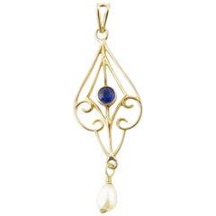 10 Karat Yellow Gold Blue Sapphire and Pearl Pendant