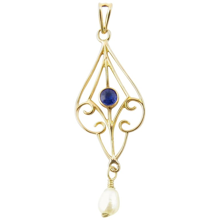 10 Karat Yellow Gold Blue Sapphire and Pearl Pendant For Sale