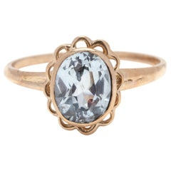 10 Karat Yellow Gold Blue Stone Scalloped Halo Ring