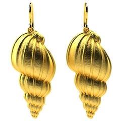 10 Karat Yellow Gold Tulip Shell Earrings