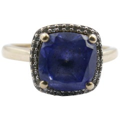10 Karat Yellow Gold Ceylon Blue Sapphire and Diamond Ring