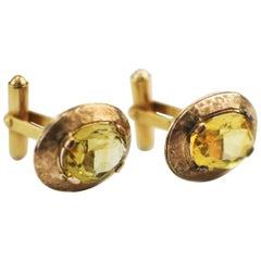 10 Karat Yellow Gold Cufflinks with Natural Yellow Citrine Stones