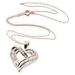 10 Karat Yellow Gold Diamond Baguette Heart Necklace