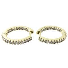 10 Karat Yellow Gold Diamond Hoop Earrings