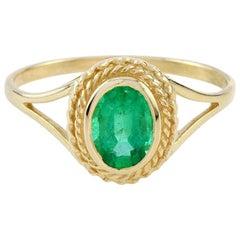 10 Karat Yellow Gold Emerald Cocktail Ring