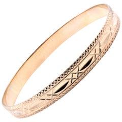 10 Karat Yellow Gold Engraved Bangle Bracelet