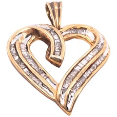 10 Karat Yellow Gold Heart Charm / Pendant with Diamonds