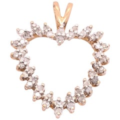 10 Karat Yellow Gold Heart Charm Pendant with Rose Cut Diamonds 0.50 TDW