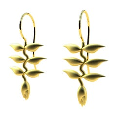 10 Karat Yellow Gold Heliconia Dangle Earrings