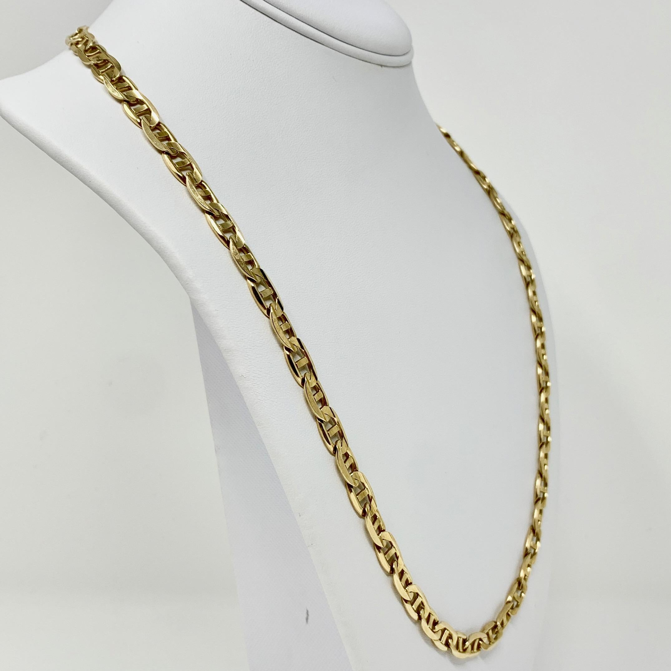 """10KT Solid Yellow Gold Chain Necklace-Diamond cut bead chain-Made in Italy-18/"""""""