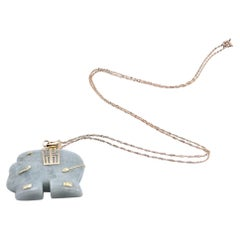 10 Karat Yellow Gold Jade Elephant Necklace