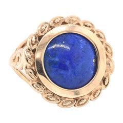 10 Karat Yellow Gold Lapis Lazuli Ring