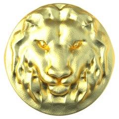 10 Karat Yellow Gold Leo Lion Head Signet Ring