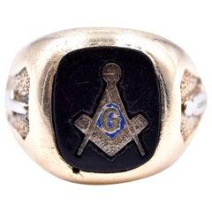 10 Karat Yellow Gold Masonic Ring with Black Onyx