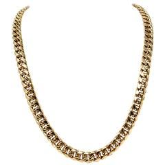 10 Karat Yellow Gold Men's Cuban Curb Link Chain Necklace