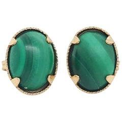 10 Karat Yellow Gold Oval Cabochon Malachite Stud Earrings