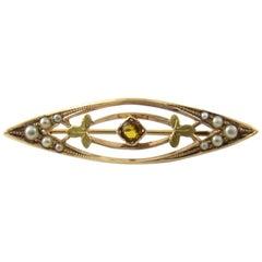 10 Karat Yellow Gold Pearl and Citrine Brooch/Pin