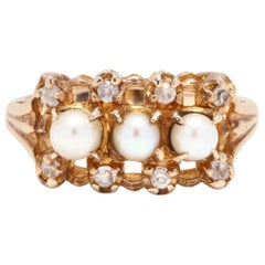 10 Karat Yellow Gold, Pearl and Diamond Ring, June Birthstone
