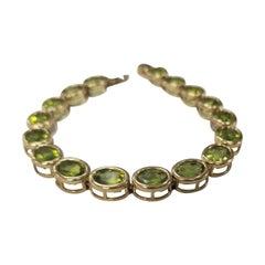 10 Karat Yellow Gold Peridot Bezel Bracelet