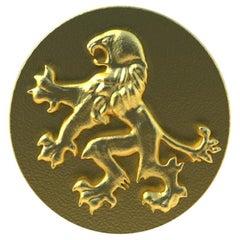 10 Karat Yellow Gold Rampant Lion Signet Ring