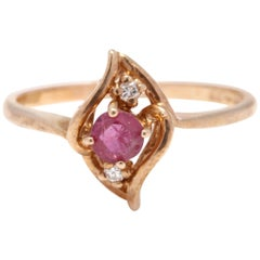 10 Karat Yellow Gold, Ruby and Diamond Navette Ring