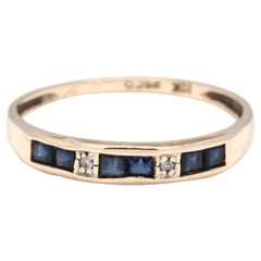 10 Karat Yellow Gold, Sapphire and Diamond Stackable Band Ring