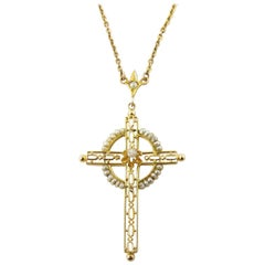 10 Karat Yellow Gold, Seed Pearl and Diamond Cross Pendant Necklace
