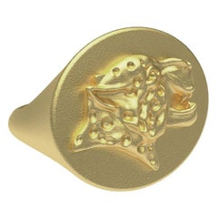 10 Karat Yellow Gold Spotted Leopard Signet Ring