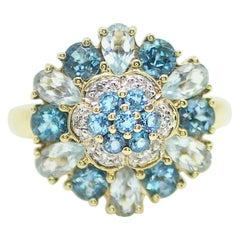 10 Karat Yellow Gold Topaz and Aquamarine Gemstones Ring