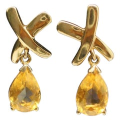 "10 Karat Yellow Gold Topaz ""X"" Earrings"