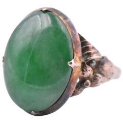 10 Karat Yellow Gold Vintage Cabochon Jade Ring