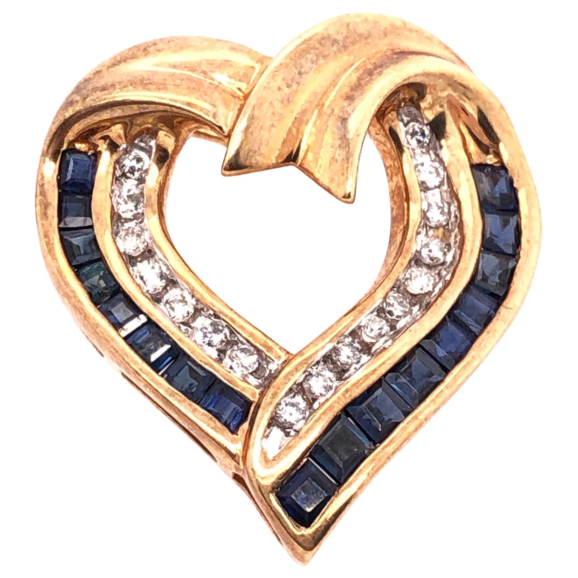 10 Karat Yellow Gold with Sapphire and Diamond Charm / Heart Pendant