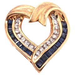 10 Karat Yellow Gold with Sapphire and Diamond Charm / Heart Pendant