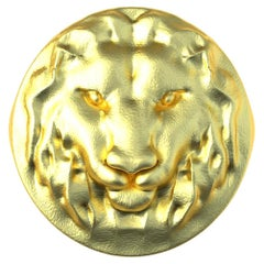 10 Karat Yellow Gold Leo Lion Head Signet Ring