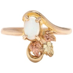 10 Karat Yellow, Rose, and Green Gold Opal Foliate Ring