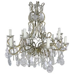 10-Light French Louis XV Style Crystal Beaded Chandelier, circa 1930s